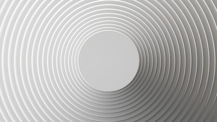 3d render, abstract white geometric background, minimal round frame flat lay, deck of blank cards