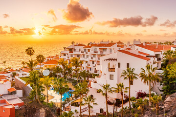 Sunset in Puerto de Santiago city, Atlantic Ocean coast, Tenerife, Canary island, Spain
