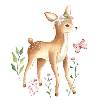 Baby Deer watercolor floral illustration