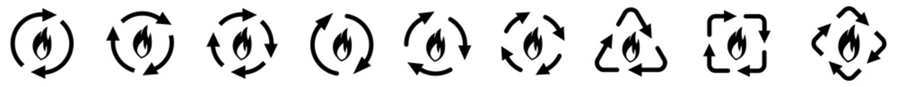 Flame or fire icon in arrows forming cycle, two three and four arrow version