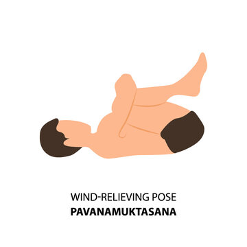 Man practicing yoga pose isolated Vector Illustration. Man standing in wind-relieving pose or pavanamuktasana pose, Yoga Asana icon