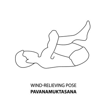 Man practicing yoga pose isolated outline Illustration. Man standing in wind-relieving pose or pavanamuktasana pose, Yoga Asana line icon