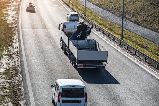 truck on the road, freeway traffic