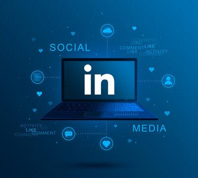 Social media icon Linkedin on laptop screen, social media activity 3d