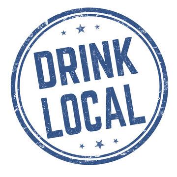 Drink local grunge rubber stamp