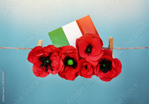 traditional patriotic italian background, with flag of Italy. liberation day and republic day