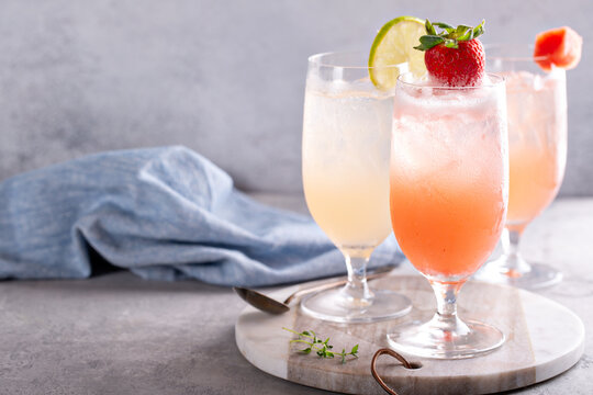 Summer cocktails or mocktails with herbs and fruit