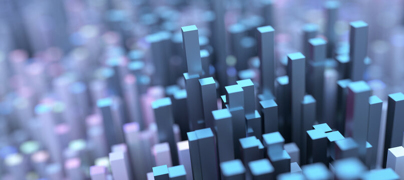 Abstract futuristic  technology background. Abstract low poly city with blue and pink buildings. Surreal city buildings.  Best for advertising, presentation, web. 3d rendering illustration.