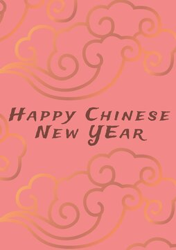 Happy chinese new year written in white on pink background with gold cloud design