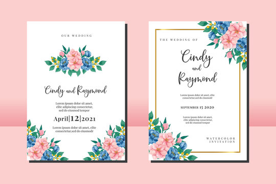 Floral Frame Wedding invitation set, floral watercolor hand drawn Peony and Magnolia Flower design Invitation Card Template