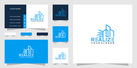 Building logo with palm design and business card template Wall mural