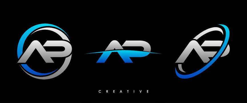 AP Letter Initial Logo Design Template Vector Illustration