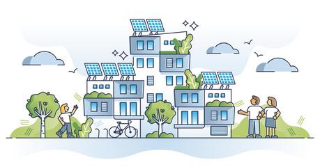 Fototapeta Autonomous building as house with solar panel electricity outline concept obraz