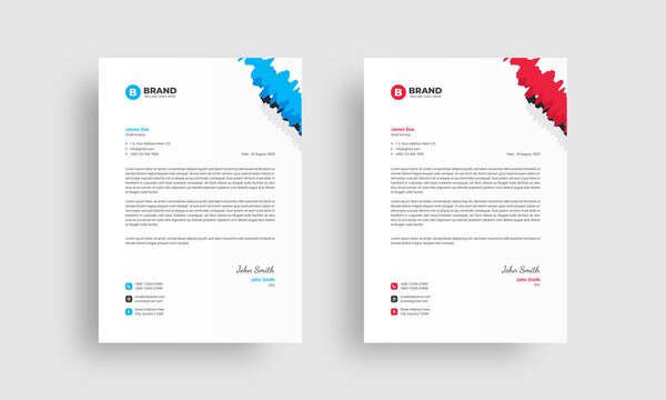 Creative, clean & simple business letterhead layout. Professional modern letterhead design template with blue and red color variation.