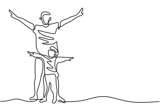 Father and his child continuous one line drawing. A young daddy and his son stand together in the same pose isolated on white background. Happy family father and little child. Father's day theme