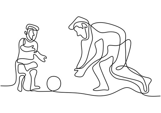 One continuous line drawing young dad playing football soccer with his son in public field park. Happy family parenting concept isolated on white background.