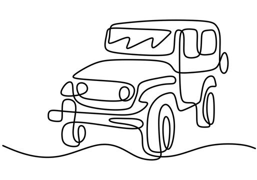 One continuous single hand drawn line of jeep wrangler car. Adventure off road rally vehicle transportation concept. A classical jeep isolated on white background. Vector illustration