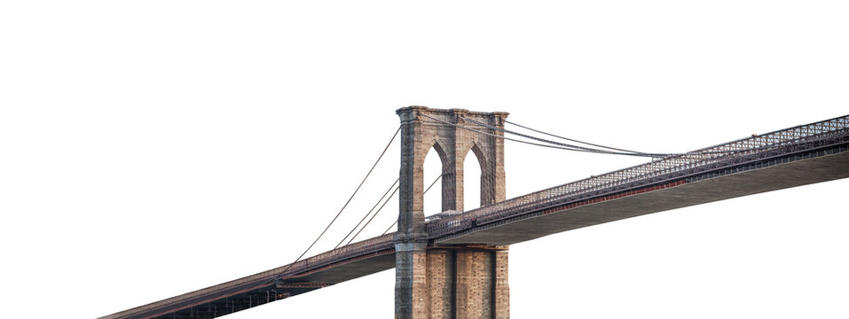 The Brooklyn Bridge (New York, USA) isolated on white background