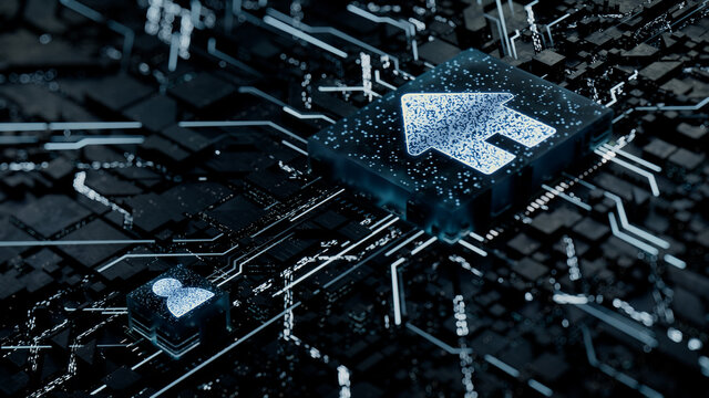 Internet Technology Concept with home symbol on a Microchip. White Neon Data flows between the CPU and the User across a Futuristic Motherboard. 3D render.