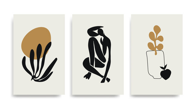 Contemporary Henri Matisse abstract vector poster. Woman figure silhouette line art Matisse painting. Black golden reproduction of painting. Geometric shape collage.