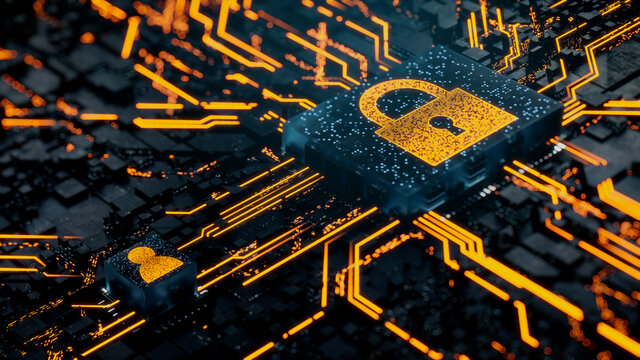 Security Technology Concept with lock symbol on a Microchip. Orange Neon Data flows between the CPU and the User across a Futuristic Motherboard. 3D render.