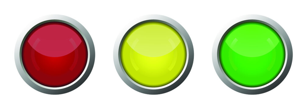 vector start and stop button, red button, yellow button, green button