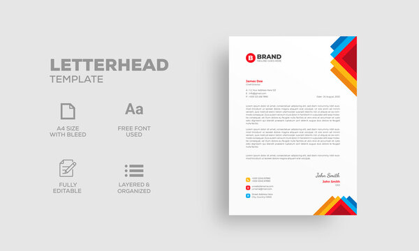 Colorful professional business letterhead design template