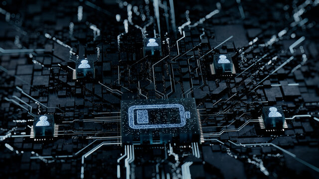 Energy Technology Concept with low battery symbol on a Microchip. White Neon Data flows between Users and the Battery across a Futuristic Motherboard. 3D render.