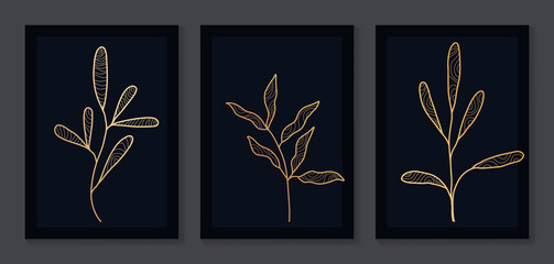 Abstract art nature background vector. Modern shape line art wallpaper. black and gold Boho foliage botanical leaves watercolor texture design for home deco, wall art.