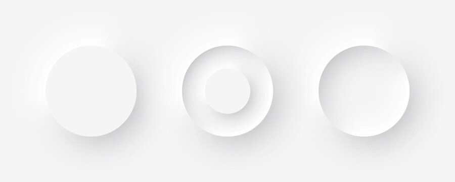 Template white buttons with outer and inner shadows in Neomorphism design. Vector illustration EPS 10