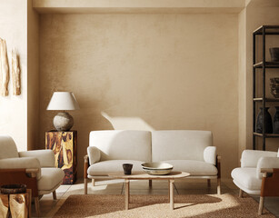 Wall Murals Graffiti Contemporary nomadic home interior background in warm beige tones, 3d render