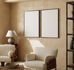 Fototapeta Mockup frames in contemporary nomadic home interior background in warm beige tones, 3d render obraz