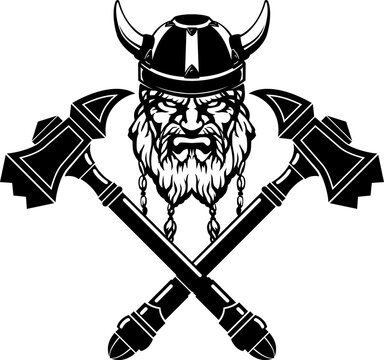 Viking Head with Crossed War Hammer Emblem