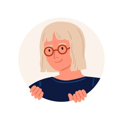 Curious person peeping from behind round hole, searching and watching for smth. Portrait of happy young woman in eyeglasses peeking and looking from circle. Flat vector illustration isolated on white