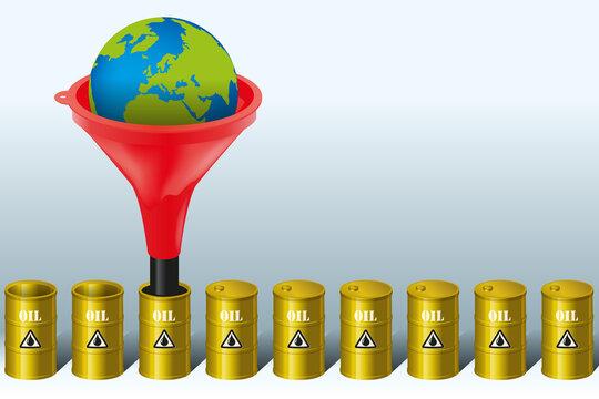 Concept de la production de barils de pétrole et de la protection de l'environnement face à l'enjeu du dérèglement climatique de la planète.