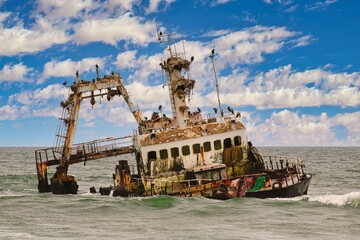Zeila Ship Wreck at Skeleton Coast National Park in Namibia
