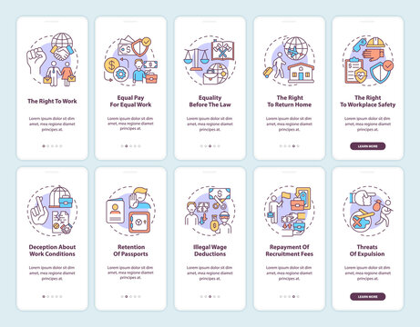 Migrant workers rights onboarding mobile app page screen with concepts set. Immigration walkthrough 5 steps graphic instructions. UI, UX, GUI vector template with linear color illustrations
