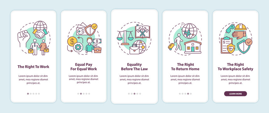 Migrant workers rights onboarding mobile app page screen with concepts. Immigrant walkthrough 5 steps graphic instructions. UI, UX, GUI vector template with linear color illustrations