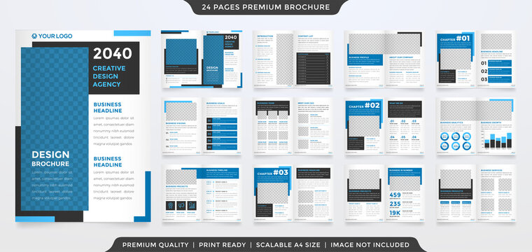 bifold brochure template with modern concept and minimalist layout use for business profile and product catalog