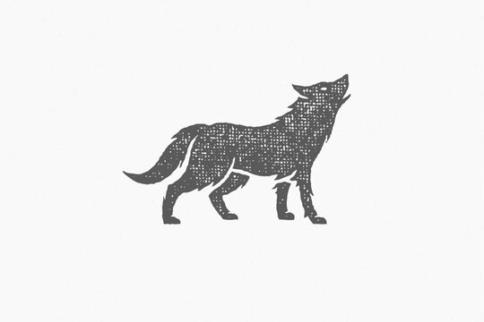 Black silhouette of wild wolf howling loudly as symbol wildlife hand drawn stamp effect vector illustration