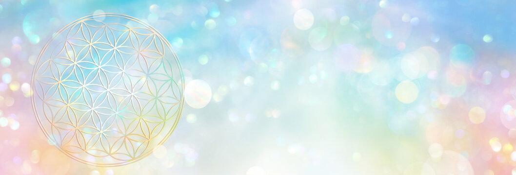 Banner Blume des Lebens, die in einem hell leuchtenden Lichterfeld kosmischer Fülle erstrahlt und in ihrer vielfältigen Ganzheit alles enthält