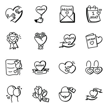 Mothers Day Doodle Icons Pack