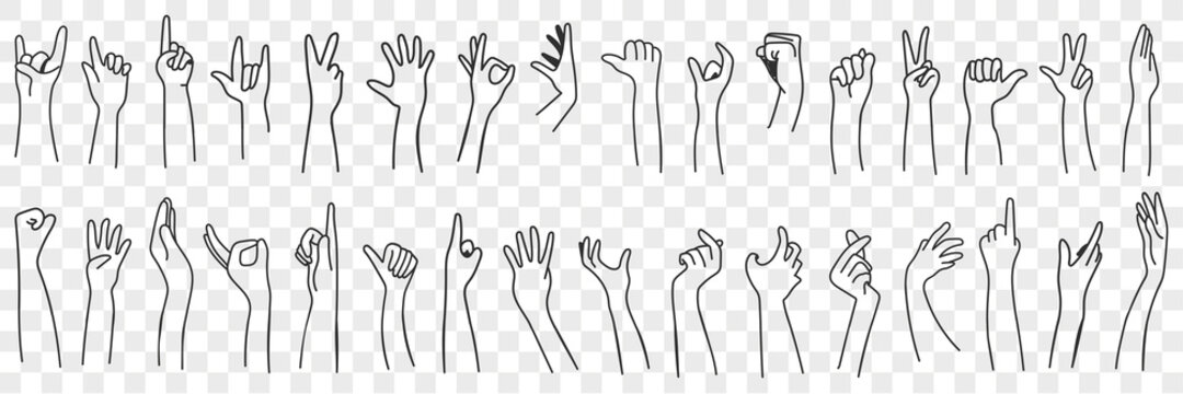 Hand gesture language doodle set. Collection of hand drawn human hands expressing various signs symbols with fingers and palms isolated on transparent background