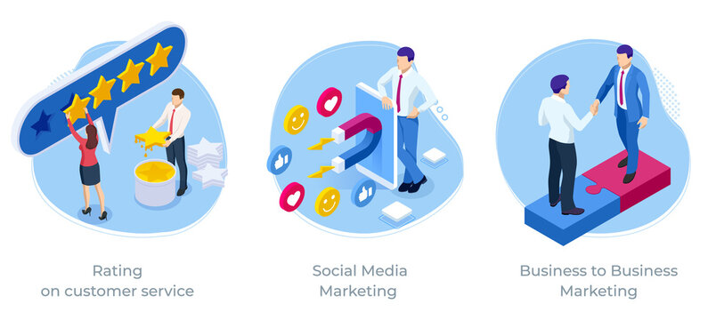Isometric Rating on customer service, Social Media Marketing, Business to Business Marketing, Business satisfaction support