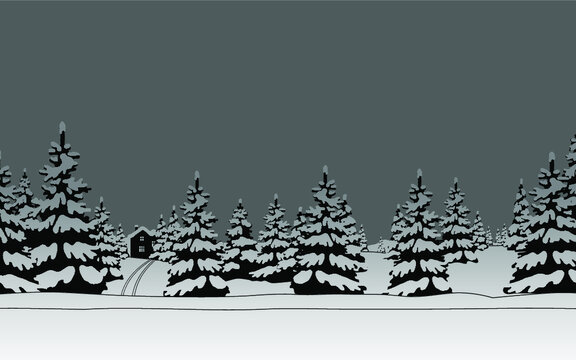 Winter landscape and gray skies. Black and white vector illustration. Background in flat style.