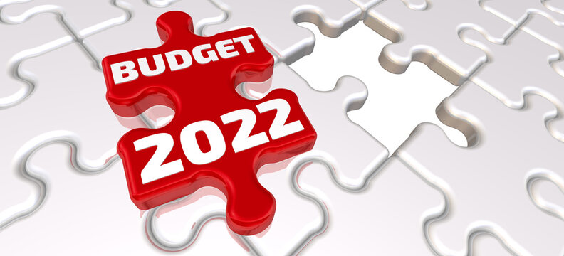 The budget of 2022. The inscription on the missing element of the puzzle. Folded white puzzles elements and one red with white text BUDGET 2022. 3D illustration