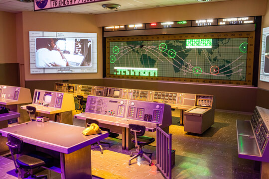 Florida, USA - Feb. 13, 2021: Space flight control room at Kennedy Space Center Visitor Complex