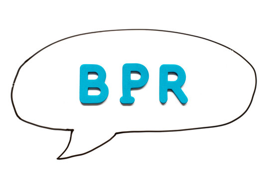 Alphabet letter with word BPR (Abbreviation of Business Process Reengineering or Batch processing record) in black line hand drawing as bubble speech on white board background
