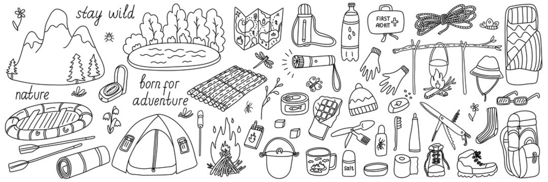 Big set of vector illustrations of tourism and camping equipment in doodle style on white background. Isolated black outline. Hand drawn elements or icons for summer camp, coloring books, posters.