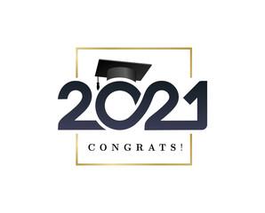 Fototapeta Class of 2021. Congratulations graduation banner numbers golden design elements. Vector graduation black and gold logo. Grad concept design for high school or college party, social network, web.